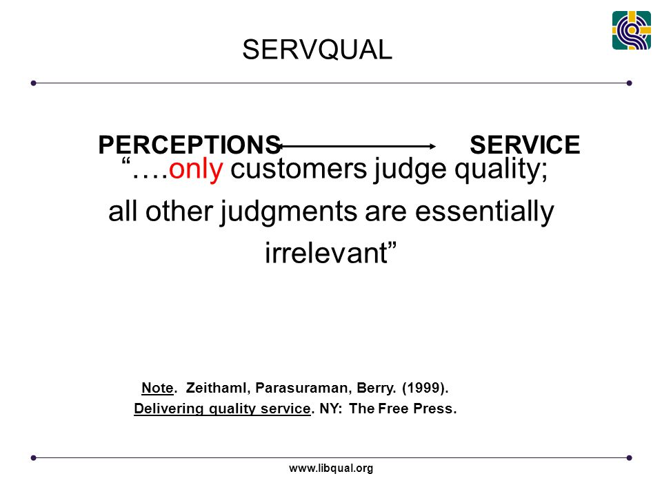 """www.libqual.org PERCEPTIONS SERVICE """"….only customers judge quality; all other judgments are essentially irrelevant"""" Note. Zeithaml, Parasuraman, Berr"""