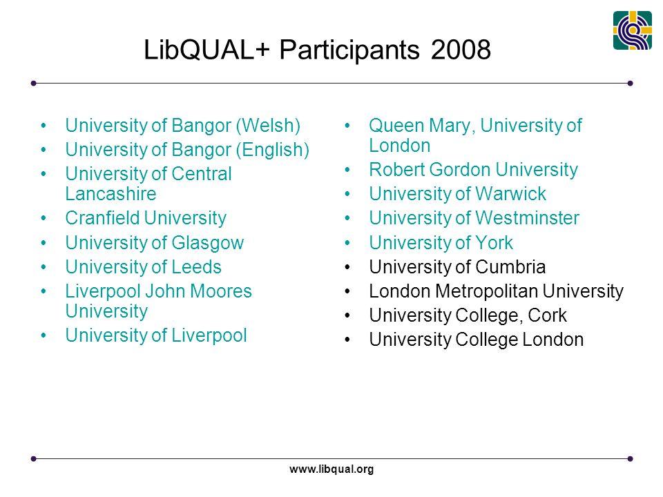 www.libqual.org LibQUAL+ Participants 2008 University of Bangor (Welsh) University of Bangor (English) University of Central Lancashire Cranfield Univ