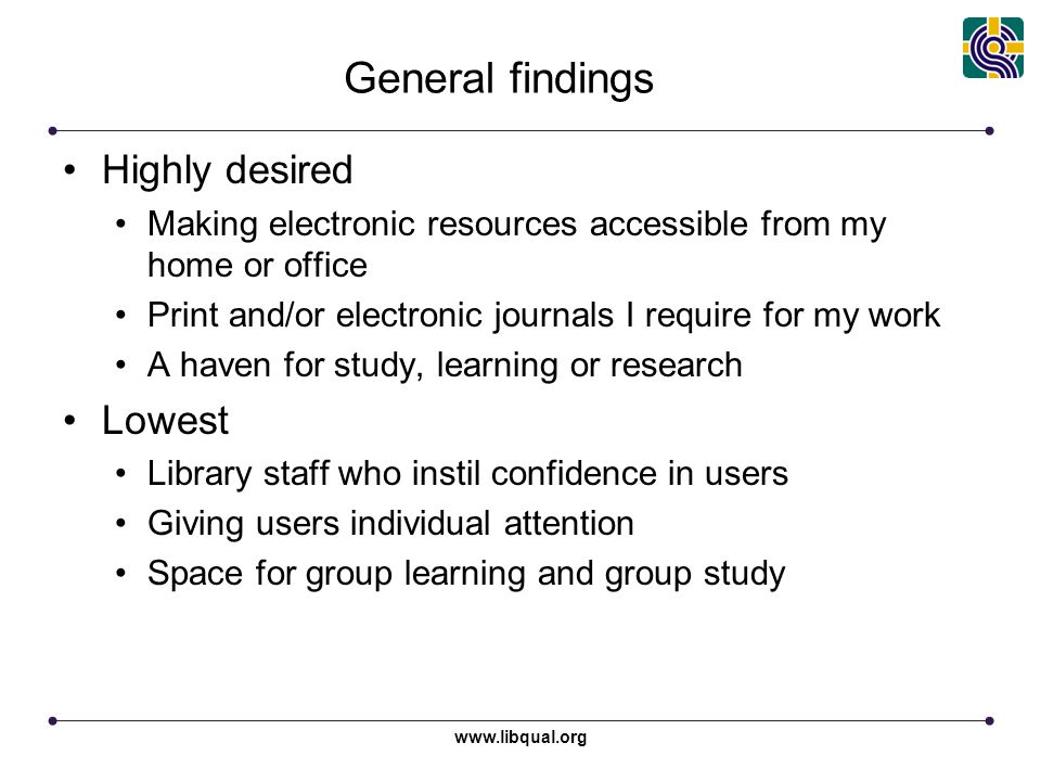 www.libqual.org General findings Highly desired Making electronic resources accessible from my home or office Print and/or electronic journals I requi
