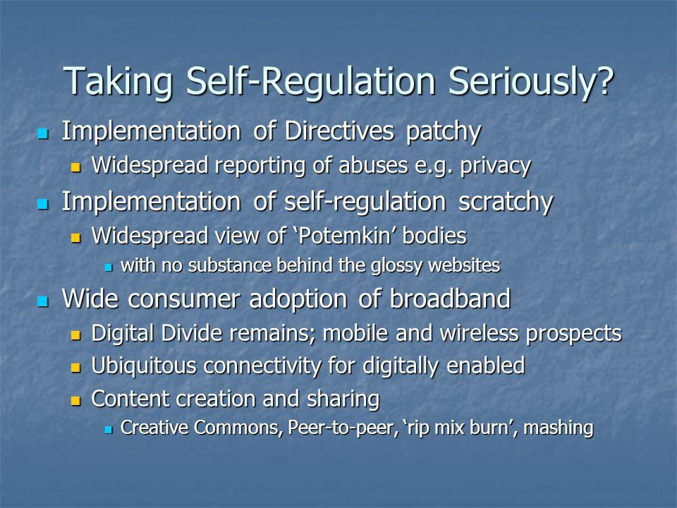 Taking Self-Regulation Seriously.