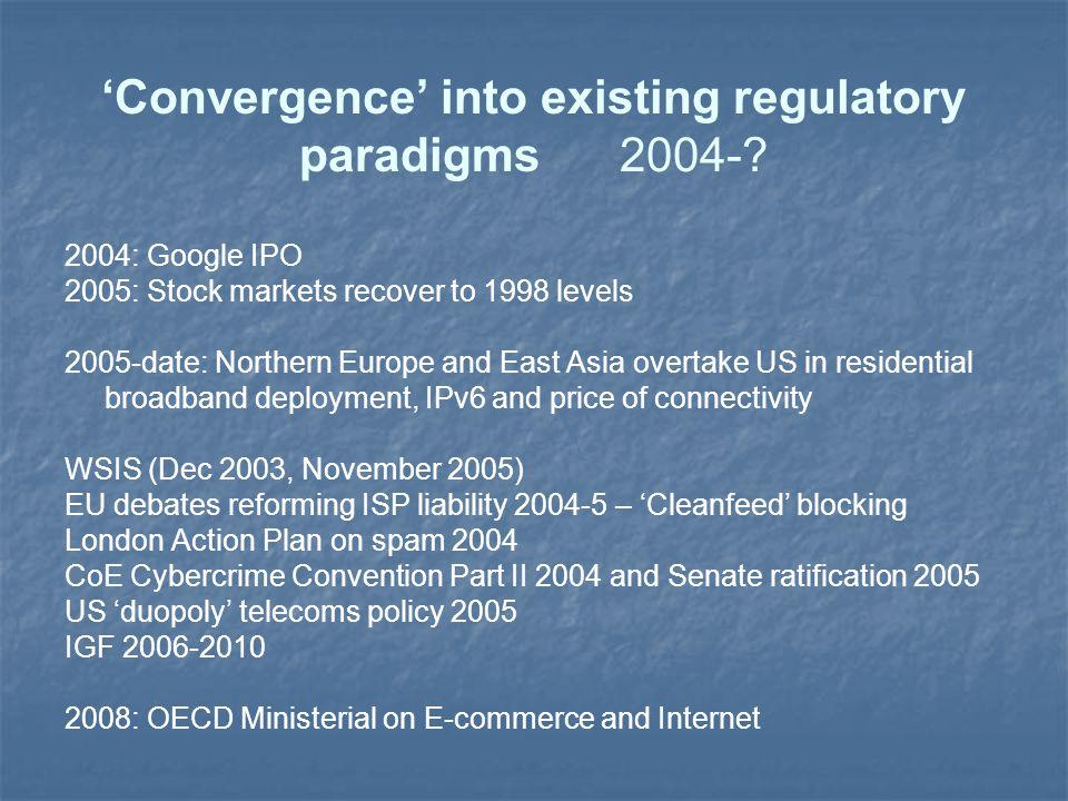 'Convergence' into existing regulatory paradigms 2004-.