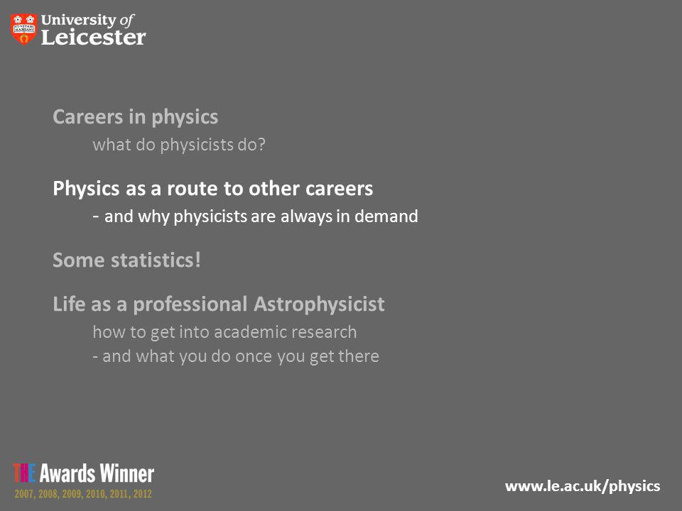 www.le.ac.uk/physics Careers in physics what do physicists do? Physics as a route to other careers - and why physicists are always in demand Some stat