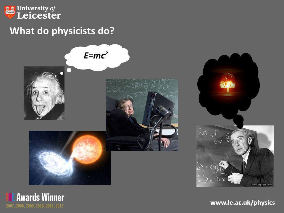 www.le.ac.uk/physics What do physicists do E E=mc 2