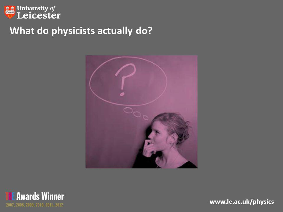 www.le.ac.uk/physics What do physicists actually do?