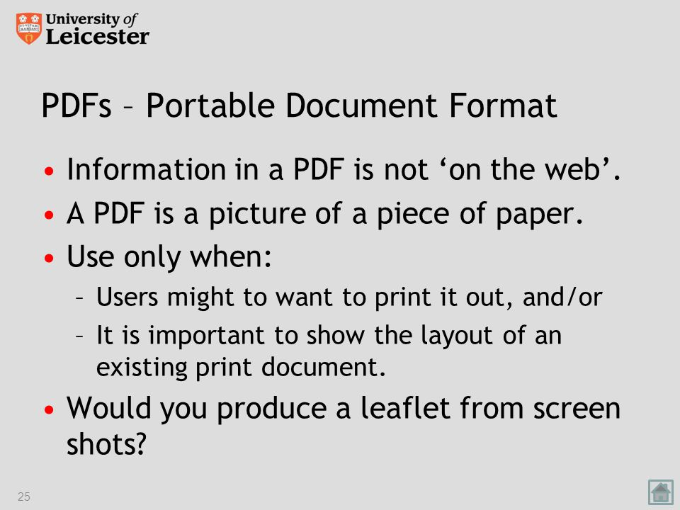 PDFs – Portable Document Format Information in a PDF is not 'on the web'.