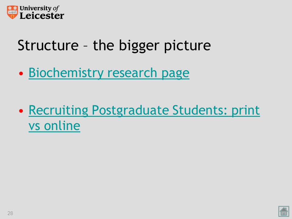 Structure – the bigger picture Biochemistry research page Recruiting Postgraduate Students: print vs onlineRecruiting Postgraduate Students: print vs online 28
