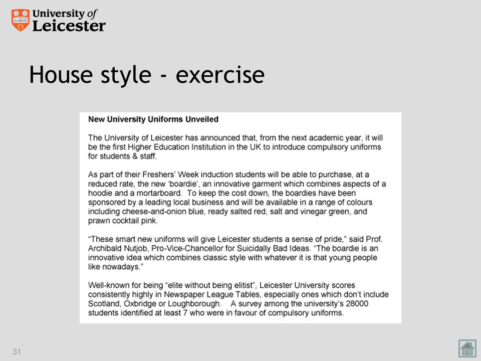 House style - exercise 31