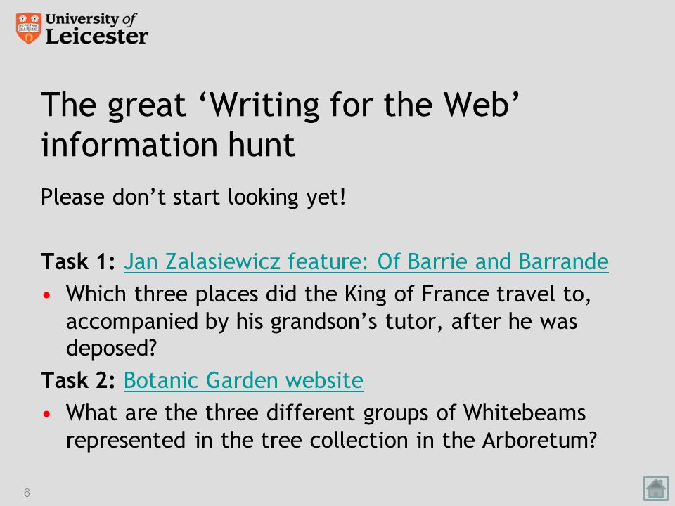 The great 'Writing for the Web' information hunt Please don't start looking yet.