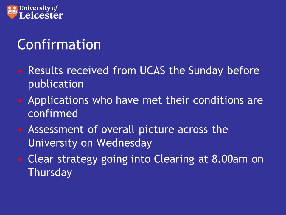 Confirmation Results received from UCAS the Sunday before publication Applications who have met their conditions are confirmed Assessment of overall picture across the University on Wednesday Clear strategy going into Clearing at 8.00am on Thursday