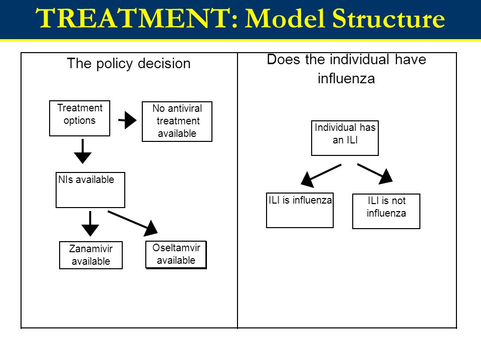 TREATMENT: Model Structure Decision to consult health care provider Outcome of illness The policy decision Does the individual have influenza Treatment options No antiviral treatment available NIs available Zanamivir available Oseltamvir available ILI is not influenza ILI is influenza Individual has an ILI Does individual present to health care provider Does not present Presents before 48 hours Presents after 48 hours Individuals with ILI Recovers with no need of further treatment Complication requiring revisit to GP Hospitalisation Death Health care provider prescribes an antiviral Yes/No Oseltamvir available