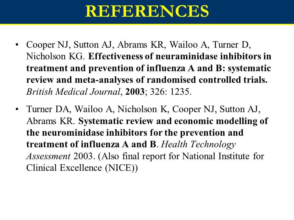 REFERENCES Cooper NJ, Sutton AJ, Abrams KR, Wailoo A, Turner D, Nicholson KG.