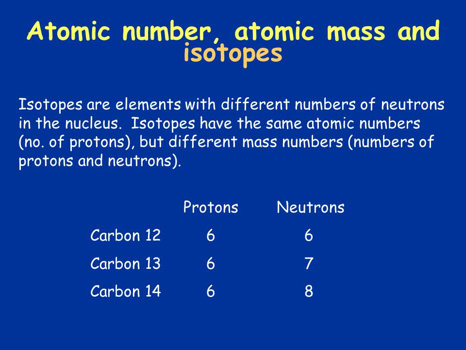 Isotopes are elements with different numbers of neutrons in the nucleus. Isotopes have the same atomic numbers (no. of protons), but different mass nu