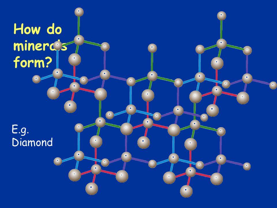 How do minerals form E.g. Diamond