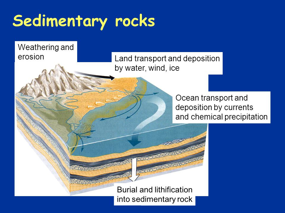 Weathering and erosion Sedimentary rocks Burial and lithification into sedimentary rock Ocean transport and deposition by currents and chemical precip