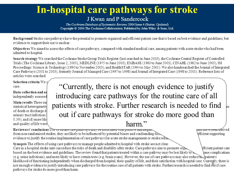 6 In-hospital care pathways for stroke J Kwan and P Sandercock The Cochrane Database of Systematic Reviews 2004 Issue 4 (Status: Updated) Copyright © 2004 The Cochrane Collaboration.