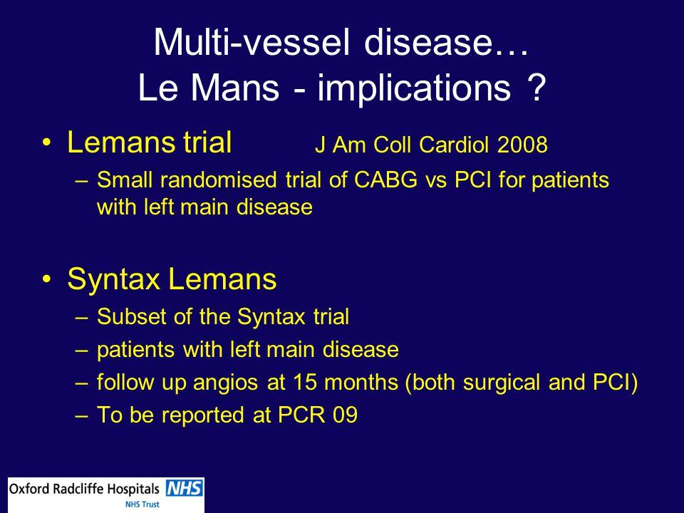 Multi-vessel disease… Le Mans - implications .