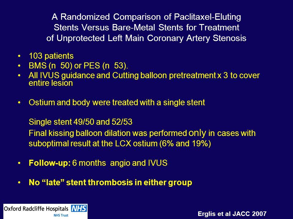 A Randomized Comparison of Paclitaxel-Eluting Stents Versus Bare-Metal Stents for Treatment of Unprotected Left Main Coronary Artery Stenosis Erglis et al JACC 2007