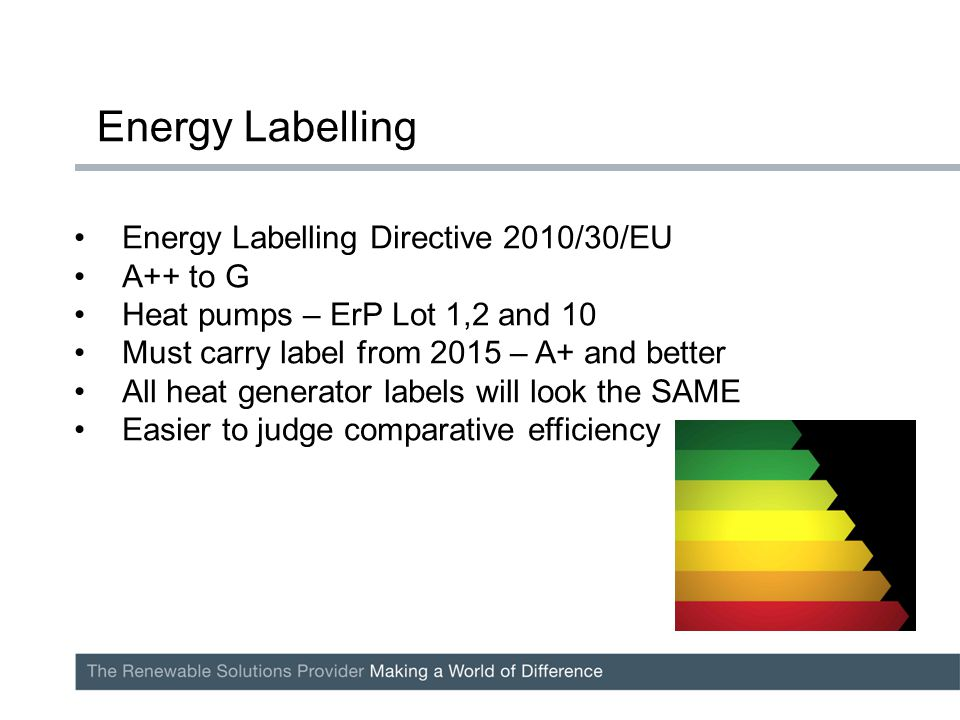 Energy Labelling Directive 2010/30/EU A++ to G Heat pumps – ErP Lot 1,2 and 10 Must carry label from 2015 – A+ and better All heat generator labels wi