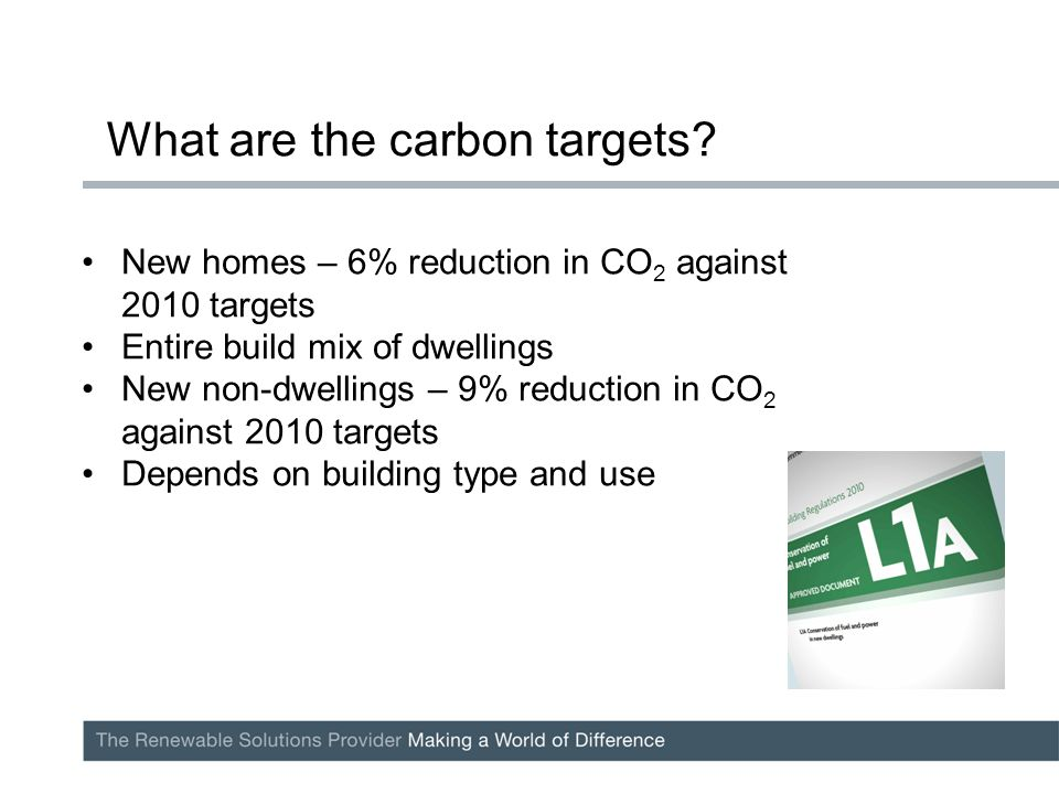 New homes – 6% reduction in CO 2 against 2010 targets Entire build mix of dwellings New non-dwellings – 9% reduction in CO 2 against 2010 targets Depends on building type and use What are the carbon targets?