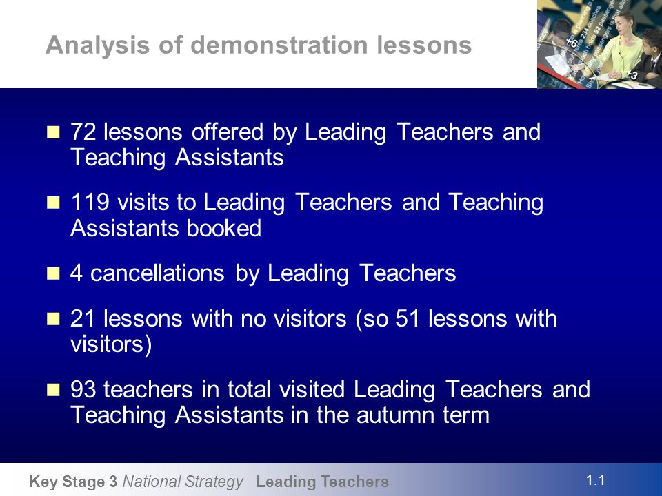 Key Stage 3 National Strategy Leading Teachers Beginnings and endings Students learn more at the beginning and the end of a learning experience than they do in the middle. The beginning, in particular, is the time when the potential for learning is at its greatest, when the relatively high concentration, but particularly anticipation, makes the learner more receptive Mike Hughes – Closing the Learning Gap