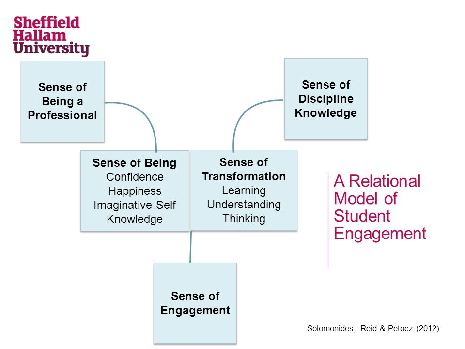 A Relational Model of Student Engagement Solomonides, Reid & Petocz (2012) Sense of Being a Professional Sense of Discipline Knowledge Sense of Engagement Sense of Being Confidence Happiness Imaginative Self Knowledge Sense of Being Confidence Happiness Imaginative Self Knowledge Sense of Transformation Learning Understanding Thinking Sense of Transformation Learning Understanding Thinking