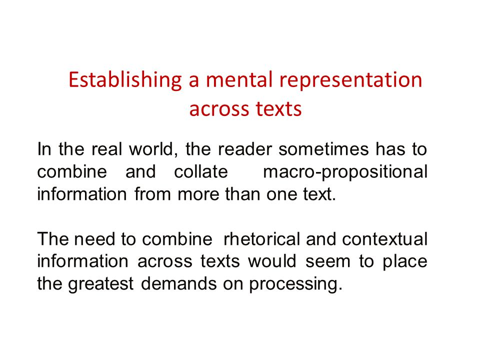 Establishing a mental representation across texts In the real world, the reader sometimes has to combine and collate macro-propositional information f