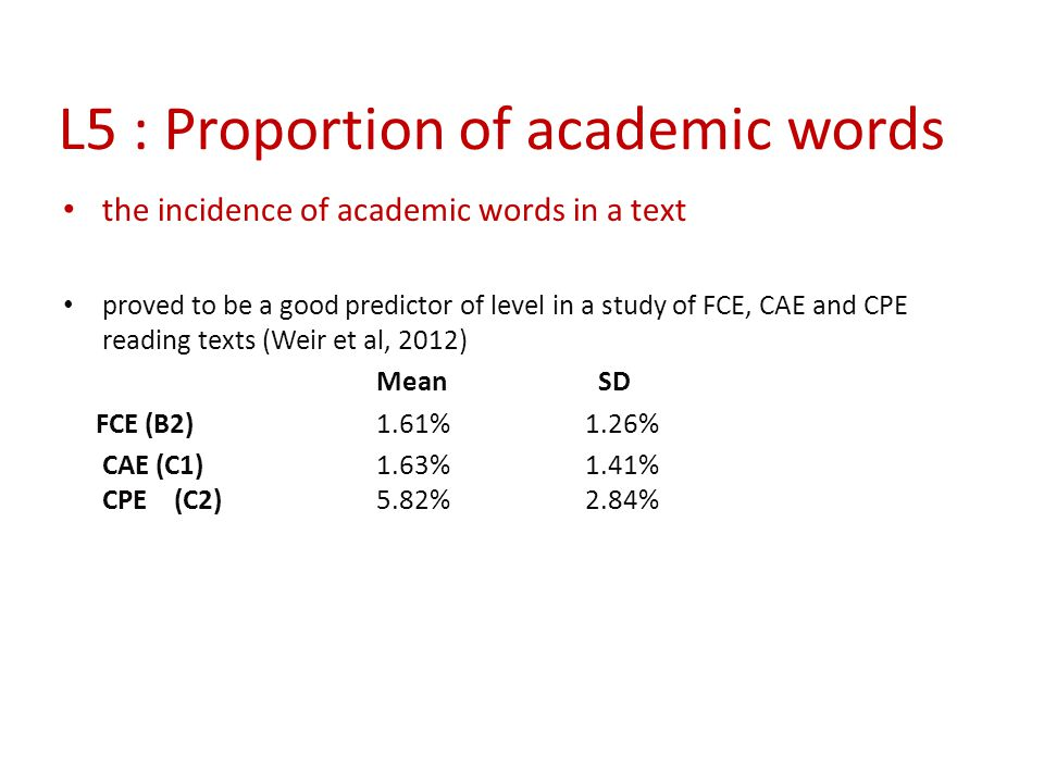L5 : Proportion of academic words the incidence of academic words in a text proved to be a good predictor of level in a study of FCE, CAE and CPE read