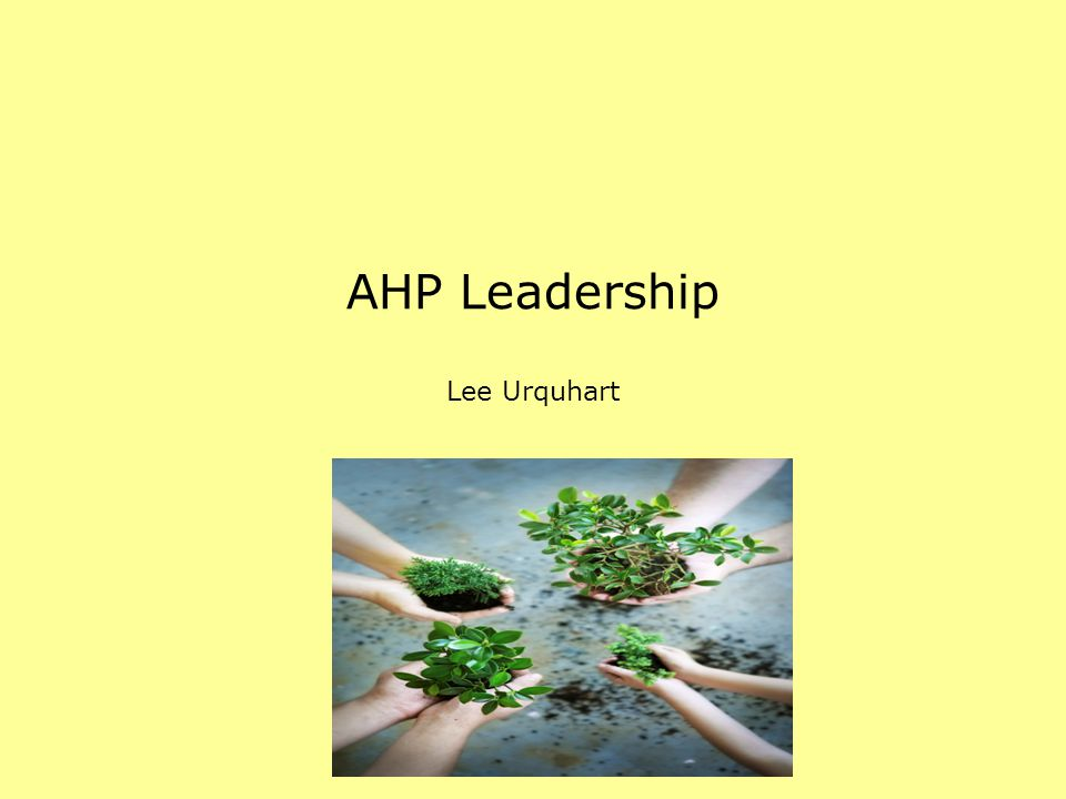 AHP Leadership Lee Urquhart