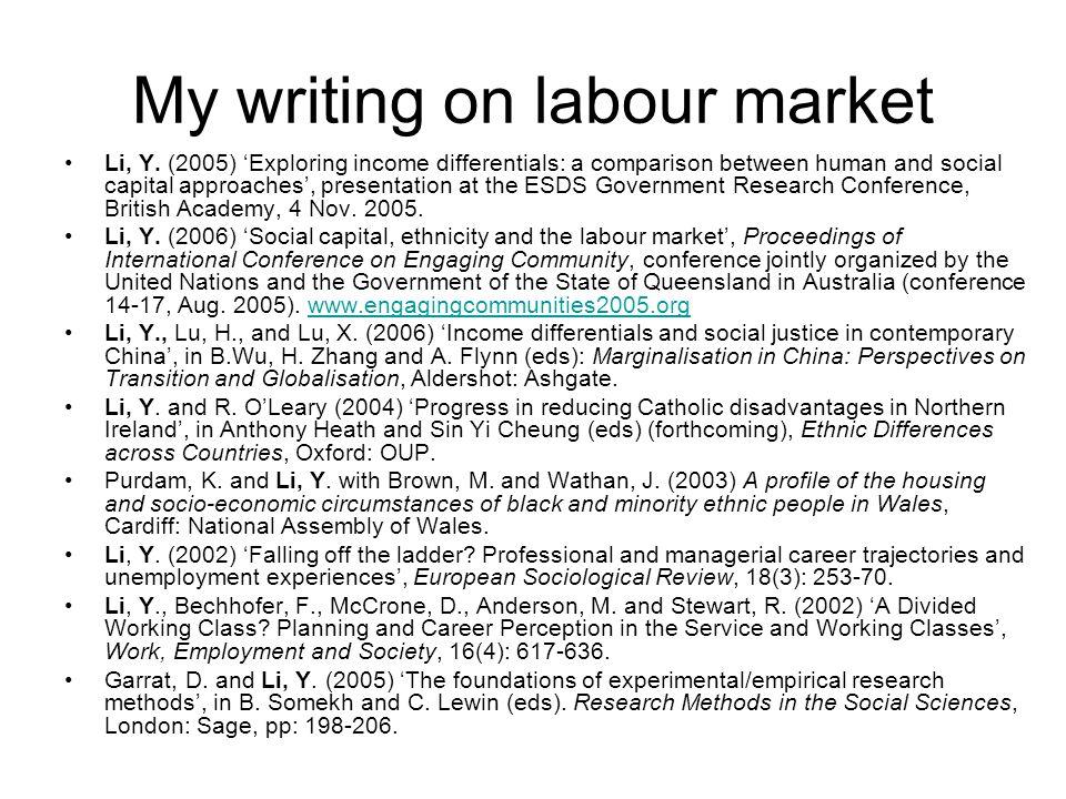 My writing on labour market Li, Y.