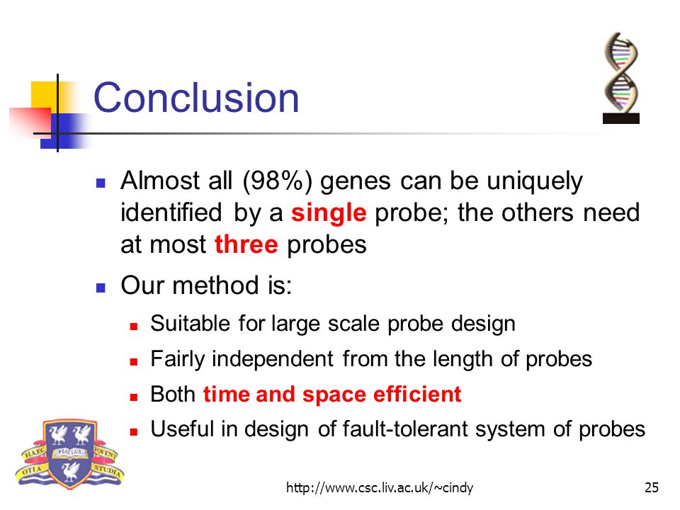 http://www.csc.liv.ac.uk/~cindy25 Conclusion Almost all (98%) genes can be uniquely identified by a single probe; the others need at most three probes Our method is: Suitable for large scale probe design Fairly independent from the length of probes Both time and space efficient Useful in design of fault-tolerant system of probes