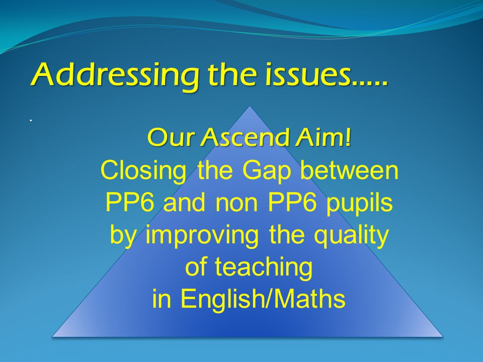 Addressing the issues…... Our Ascend Aim.