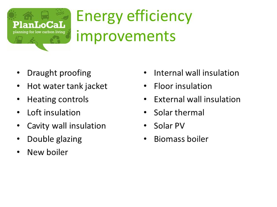 Energy efficiency improvements Draught proofing Hot water tank jacket Heating controls Loft insulation Cavity wall insulation Double glazing New boiler Internal wall insulation Floor insulation External wall insulation Solar thermal Solar PV Biomass boiler
