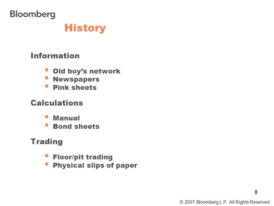 8 History © 2007 Bloomberg L.P. All Rights Reserved.