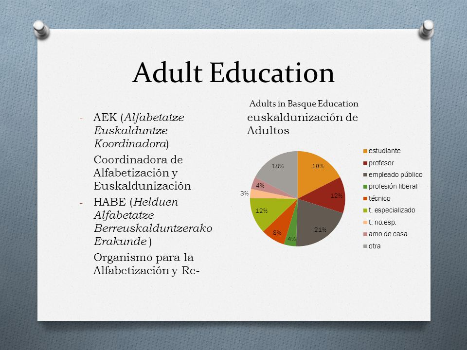 Adult Education - AEK ( Alfabetatze Euskalduntze Koordinadora ) Coordinadora de Alfabetización y Euskaldunización - HABE ( Helduen Alfabetatze Berreuskalduntzerako Erakunde ) Organismo para la Alfabetización y Re- euskaldunización de Adultos