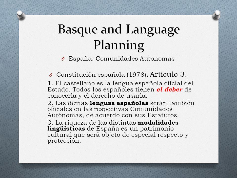 Basque and Language Planning O España: Comunidades Autonomas O Constitución española (1978).