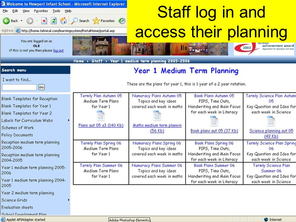 Staff log in and access their planning