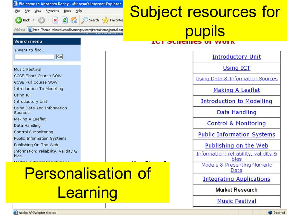 Subject resources for pupils Personalisation of Learning