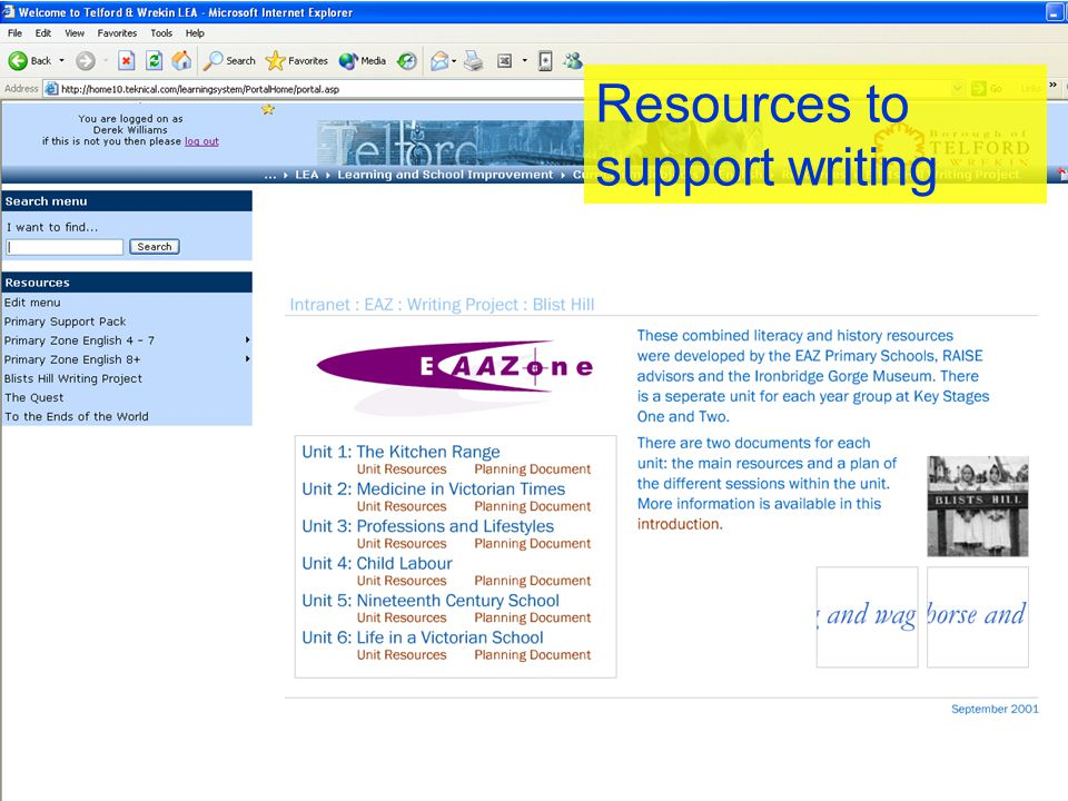 Resources to support writing