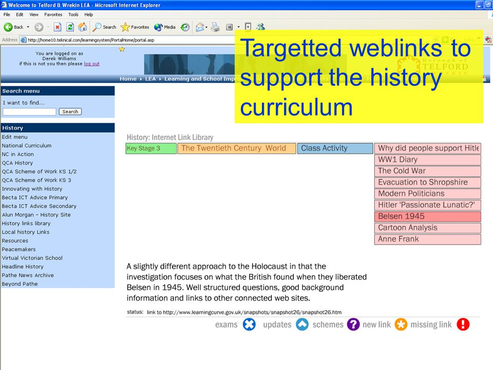 Targetted weblinks to support the history curriculum