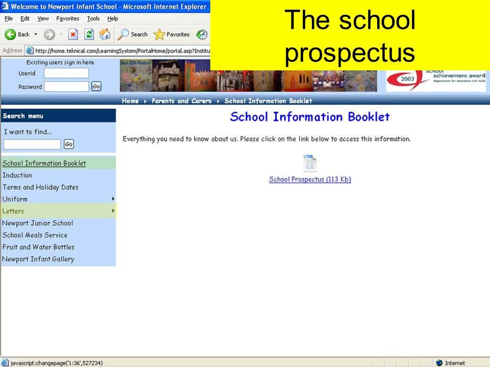 The school prospectus