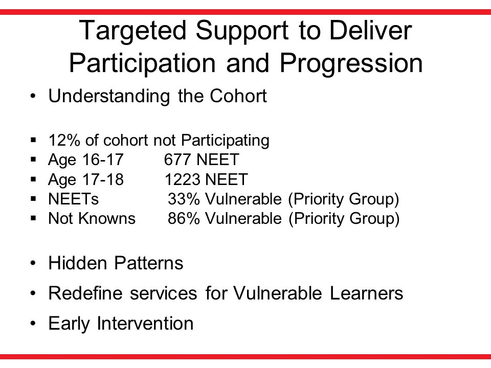Targeted Support to Deliver Participation and Progression Understanding the Cohort  12% of cohort not Participating  Age 16-17 677 NEET  Age 17-18 1223 NEET  NEETs 33% Vulnerable (Priority Group)  Not Knowns 86% Vulnerable (Priority Group) Hidden Patterns Redefine services for Vulnerable Learners Early Intervention