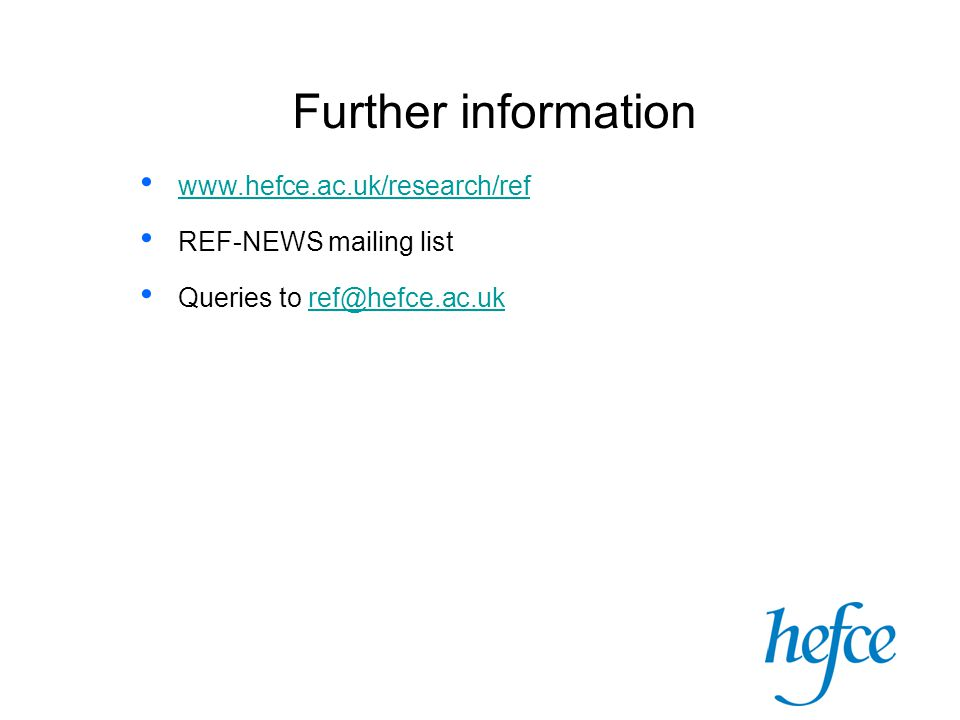 Further information   REF-NEWS mailing list Queries to
