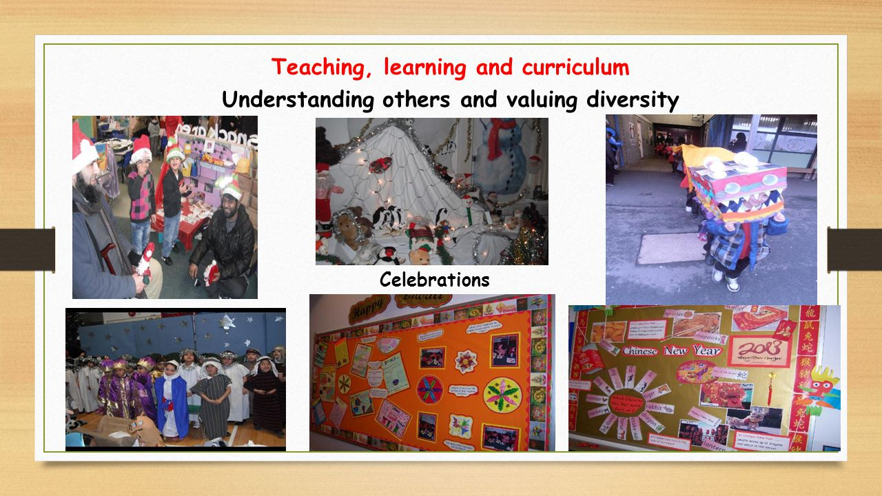 Celebrations Teaching, learning and curriculum Understanding others and valuing diversity