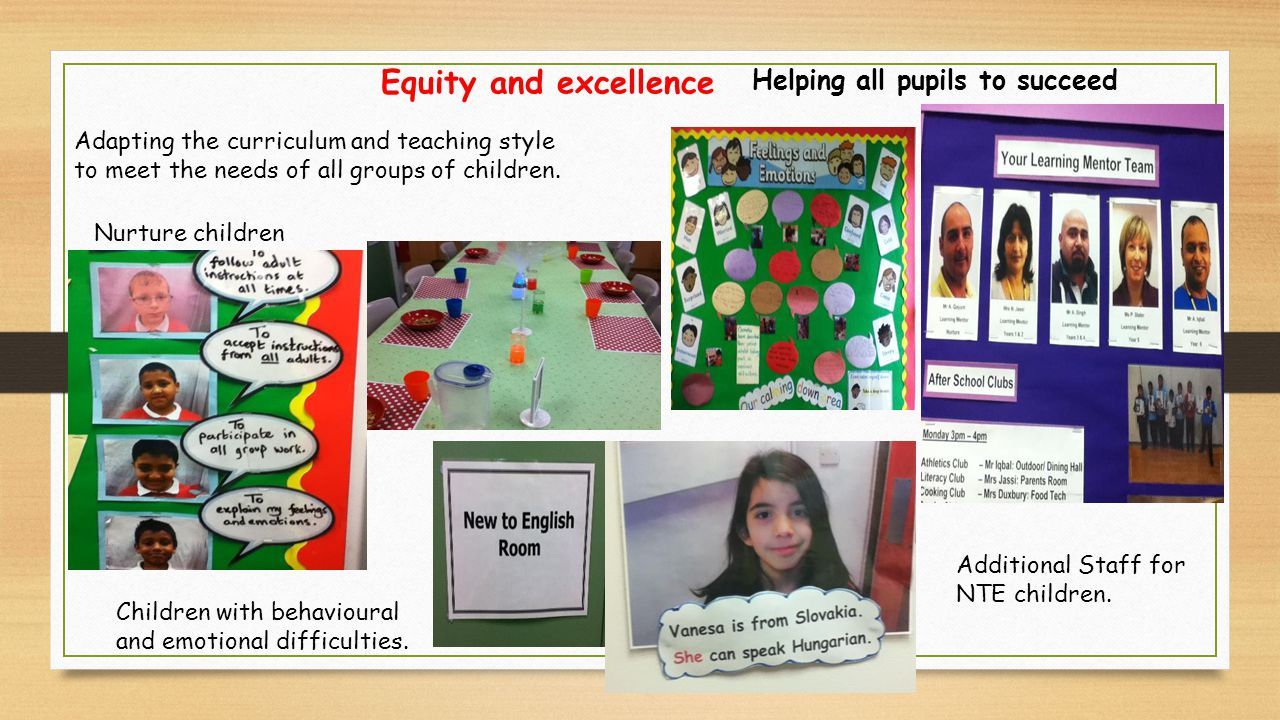 Adapting the curriculum and teaching style to meet the needs of all groups of children.