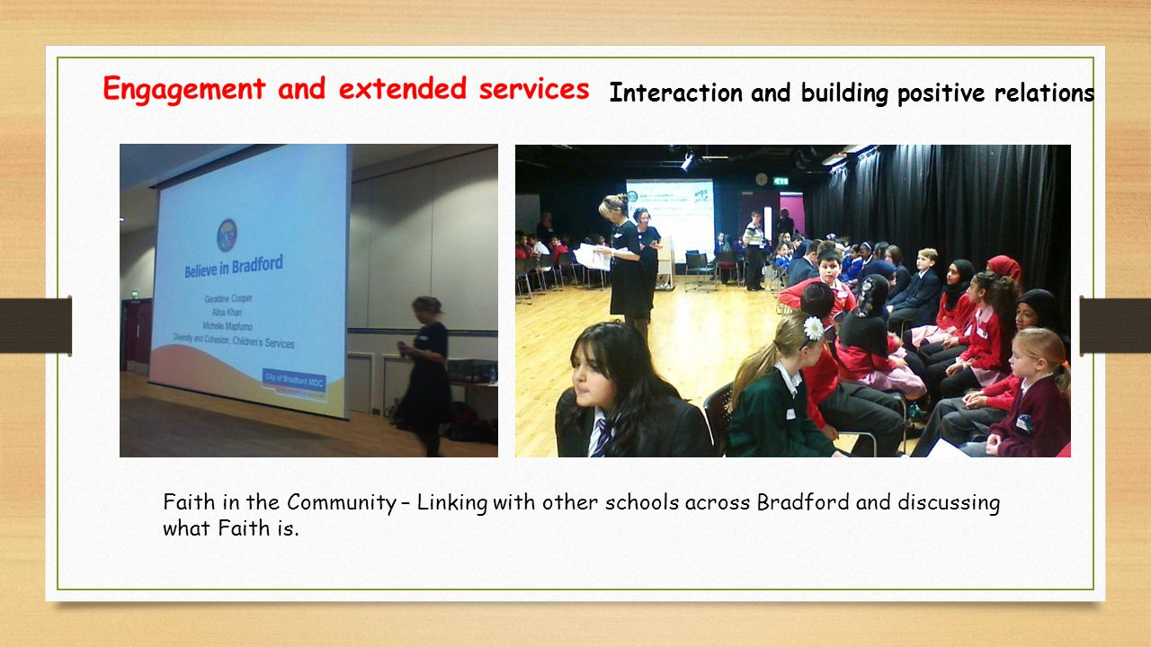 Interaction and building positive relations Faith in the Community – Linking with other schools across Bradford and discussing what Faith is.