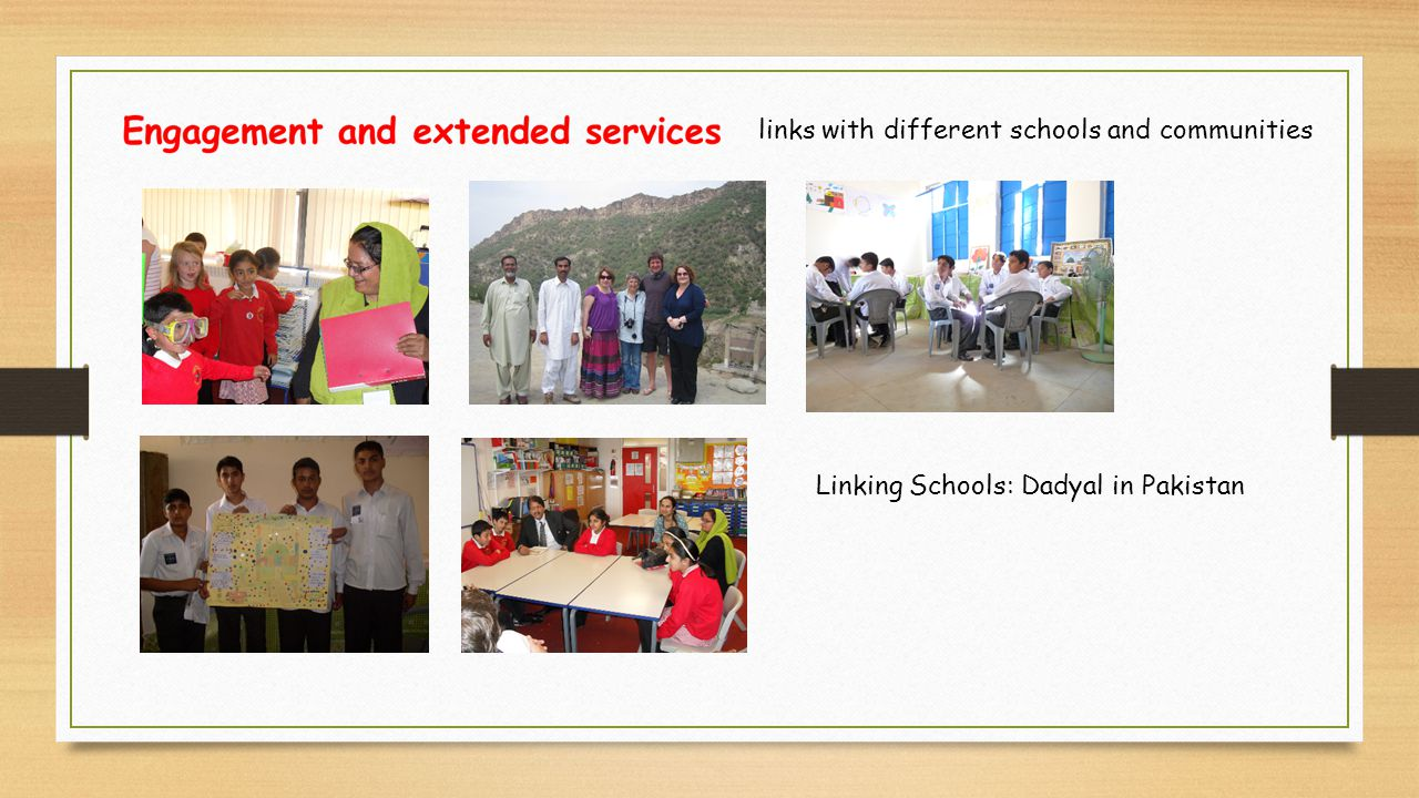 links with different schools and communities Linking Schools: Dadyal in Pakistan