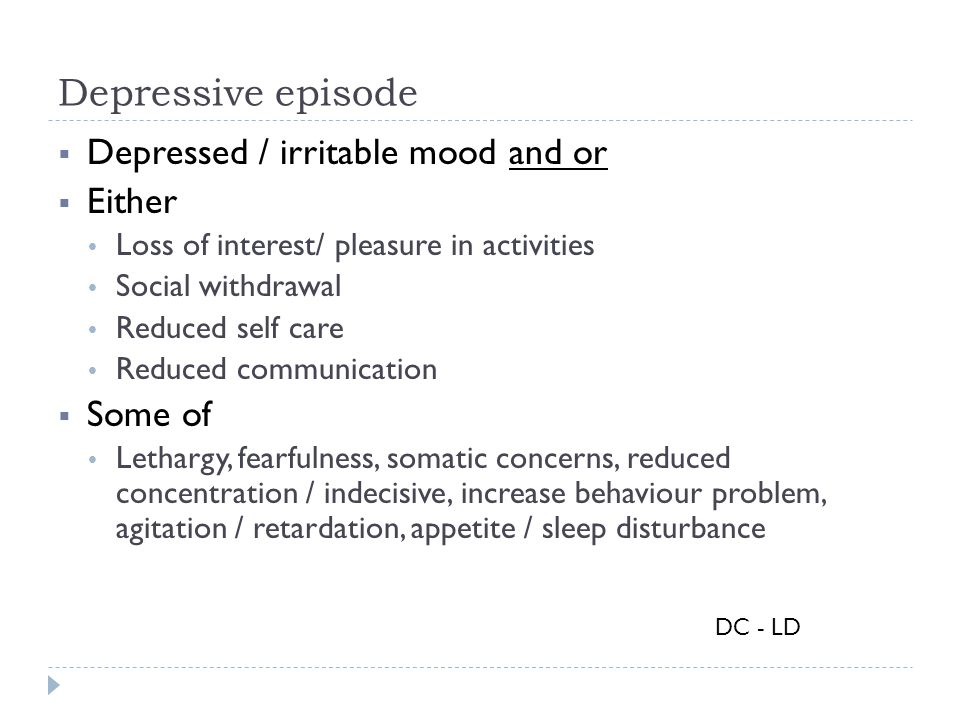 Depressive episode  Depressed / irritable mood and or  Either  Loss of interest/ pleasure in activities  Social withdrawal  Reduced self care  R
