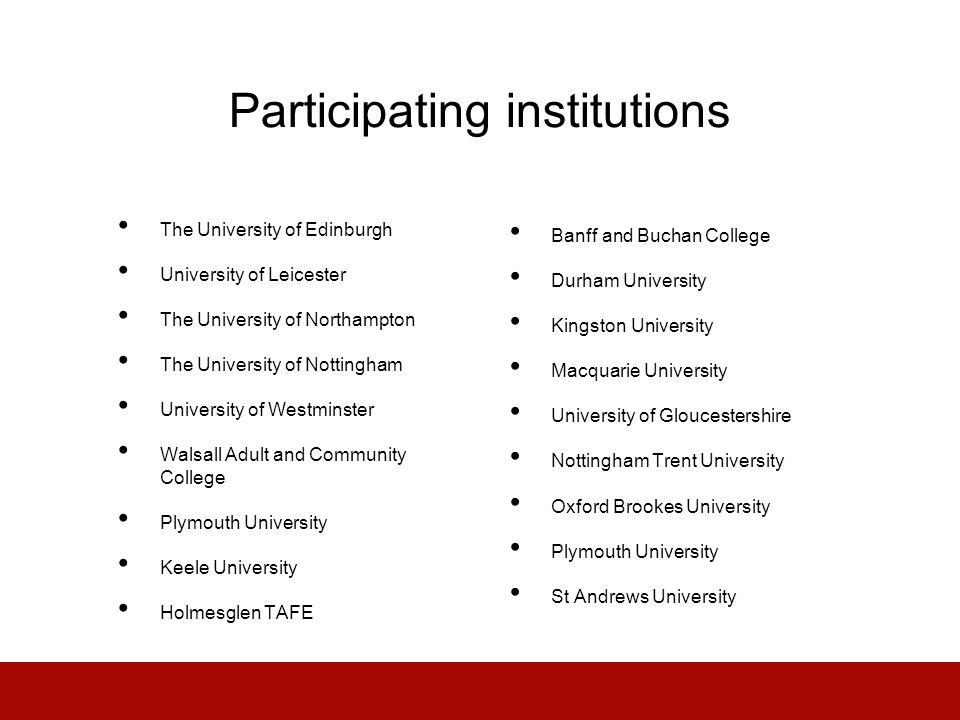 Participating institutions The University of Edinburgh University of Leicester The University of Northampton The University of Nottingham University of Westminster Walsall Adult and Community College Plymouth University Keele University Holmesglen TAFE Banff and Buchan College Durham University Kingston University Macquarie University University of Gloucestershire Nottingham Trent University Oxford Brookes University Plymouth University St Andrews University