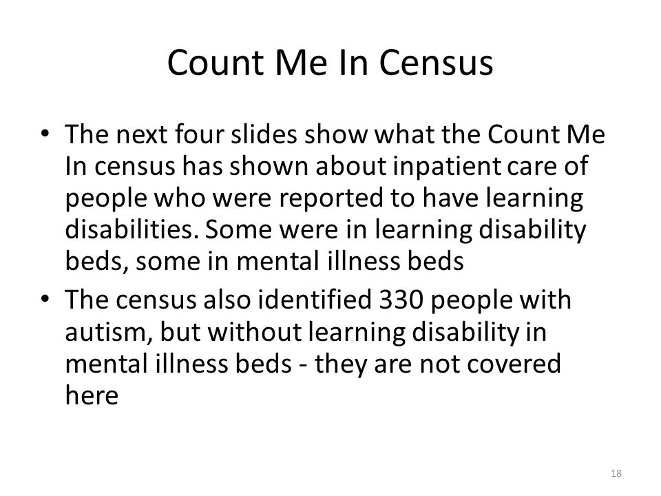 Count Me In Census The next four slides show what the Count Me In census has shown about inpatient care of people who were reported to have learning disabilities.