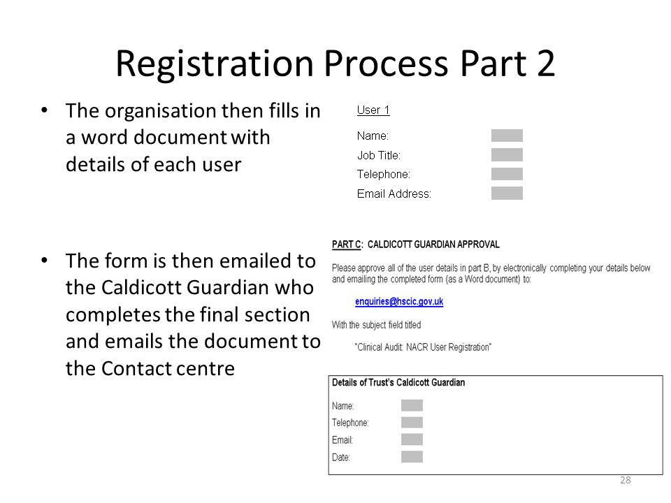 Registration Process Part 2 The organisation then fills in a word document with details of each user The form is then emailed to the Caldicott Guardia